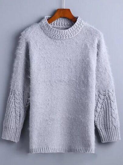 Grey Mock Collar Shaggy Sweater
