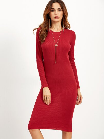 Red Long Sleeve Ribbed Pencil Dress