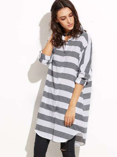 Contrast Striped Curved Hem Long Shirt