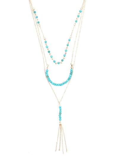 Gold Turquoise Beaded Layered Necklace