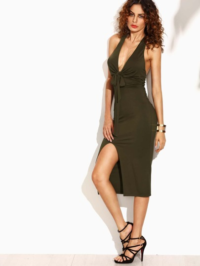 Army Green Cut Out Knotted Convertible Sheath Dress