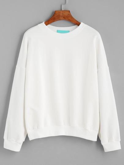 White Drop Shoulder Heart Patch Sweatshirt
