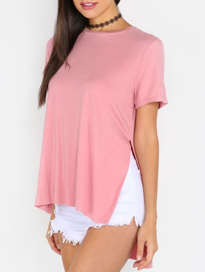 Pink Split Side Short Sleeve High Low T-shirt