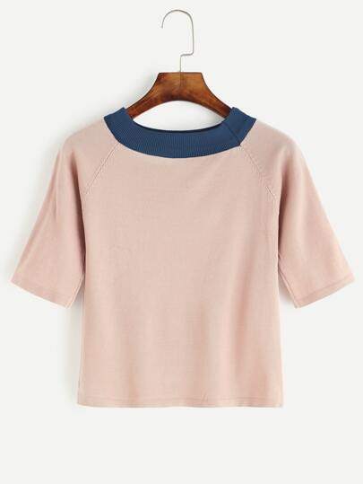 Pink Contrast Neck Elbow Sleeve Sweater