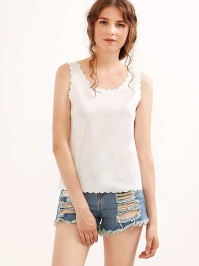 Scallop Trim Tank Top