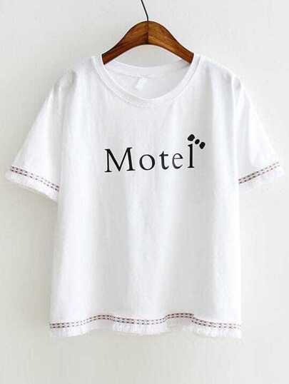 White Letter Print Embroidery Fringe Trim Tee