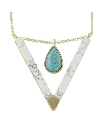 White Turquoise Triangle Pendant Necklace