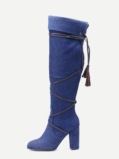 Blue Faux Suede Fringe Fold Over Boots
