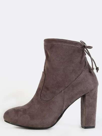 Tie Back Suede Chunky Heel Boots GREY