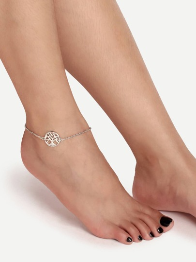 Silver Hollow Tree Charm Anklet