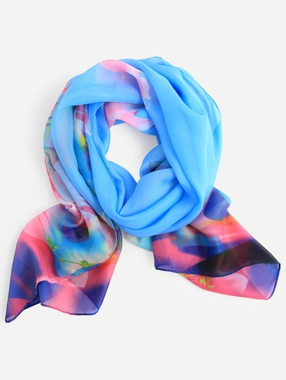 Blue Floral Print Chiffon Scarf