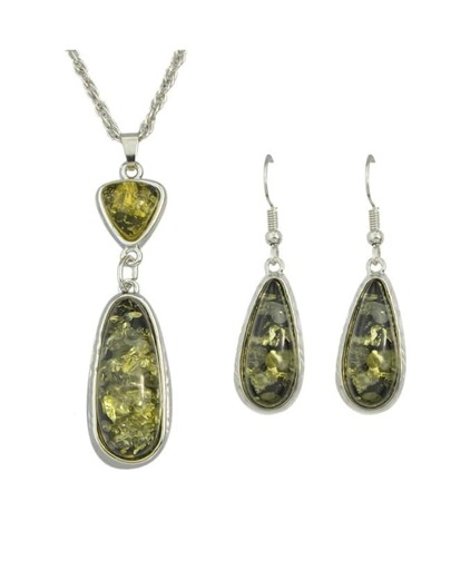Green Amber Jewelry Set