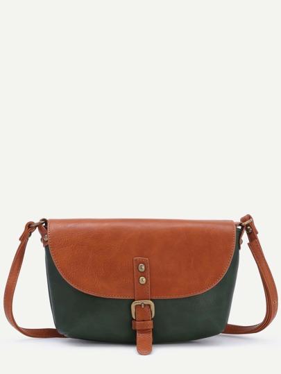 Color Block Faux Leather Front Flap Buckle Shoulder Bag