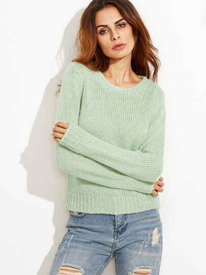 Green Ribbed Trim Sweater