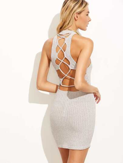Grey Caged Back Ribbed Bodycon Dress With Zipper