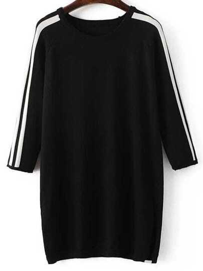Black Striped Raglan Sleeve Side Slit Sweater Dress