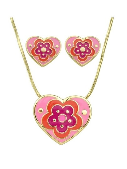 Purple Enamel Flower Pattern Heart Necklace Earrings Set