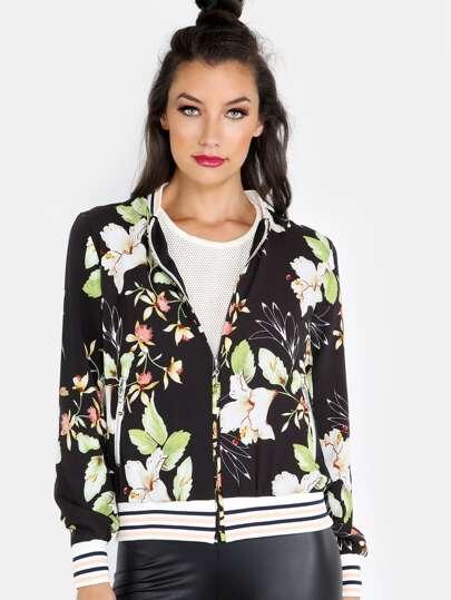 Floral Chiffon Bomber Jacket BLACK