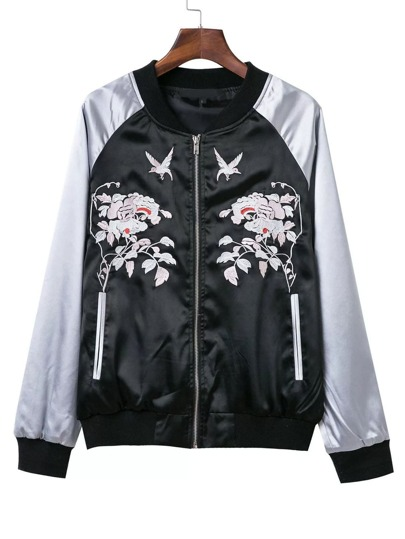 Black Floral Embroidery Baseball Bomber Jacket