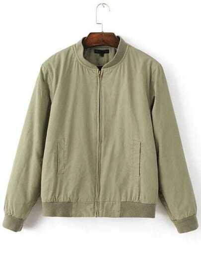 Light Green Zipper Padded Baseball Jacket
