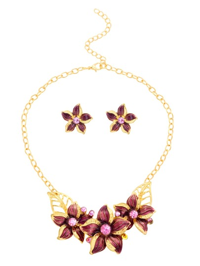 Gold Plated Rhinestone Purple Enamel Flower Jewelry Set
