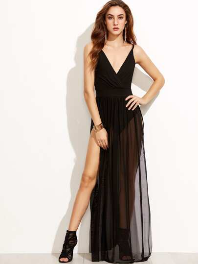 Surplice Strappy Back Split Waist Mesh Dress
