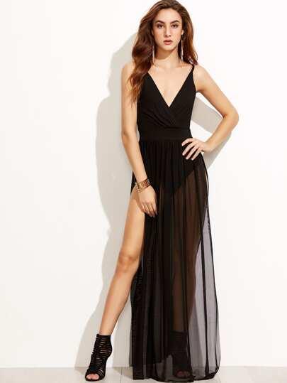 فستان أسود V الياقة بفتحة