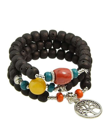 Bracciale Con Perline Catenate Boemo - Nero