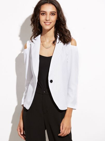 White Vertical Striped Open Shoulder Single Button Blazer