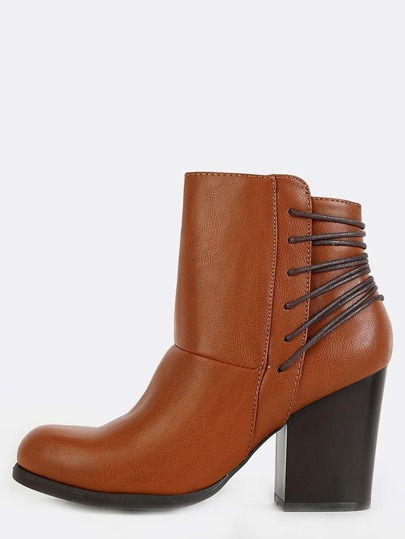 Strappy Detail Almond Toe Ankle Boots CHESTNUT