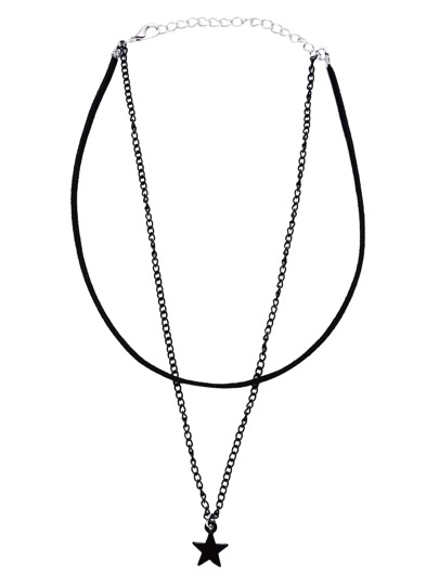 Black Star Pendant Double Layer Thin Choker Necklace