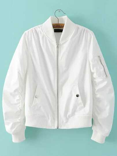 White Zipper Up Flight Jacket With Pockets
