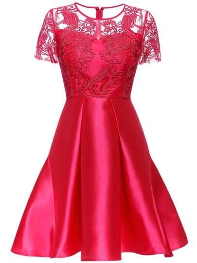 Robe évasée en tulle motif fleurs - rouge