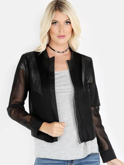 Mesh Netted Bomber Jacket BLACK