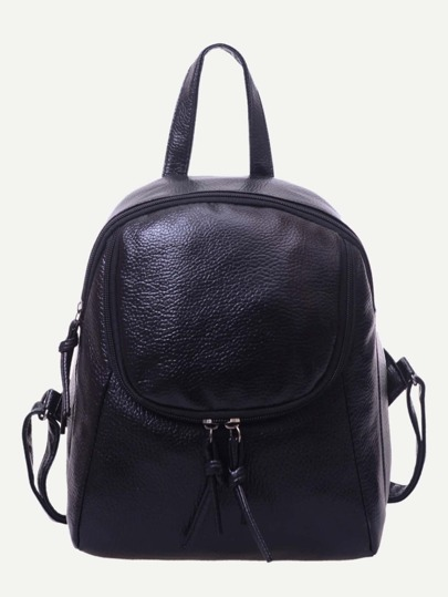 Black Pebbled Faux Leather Dome Backpack