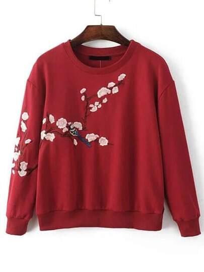 Burgundy Flower Embroidery Drop Shoulder Sweatshirt