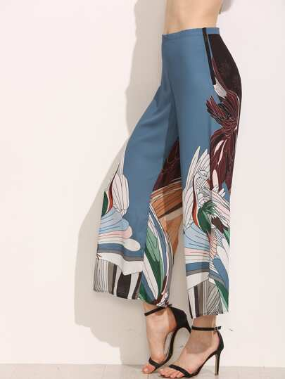 Multicolor Crane Print Wide Leg Pants