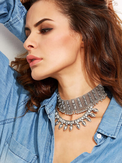 Silver Rhinestone Choker Statement Necklace