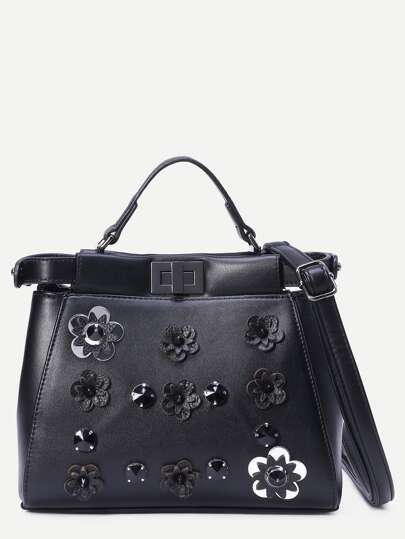 Black Flowers And Rivet Embellished Tote Bag With Strap