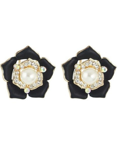 Black Imitation Pearl Rhinestone Big Flower Clip Stud Earrings