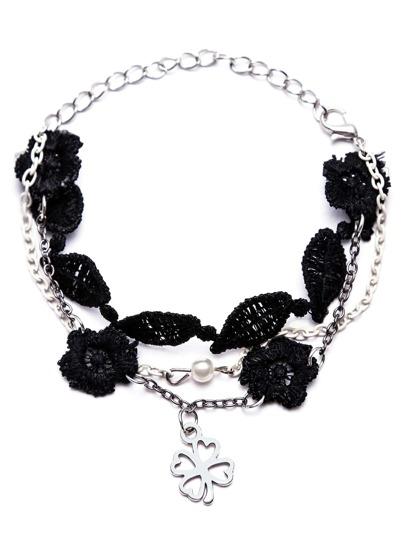 Black Lace Four Leaf Clover Layered Bracelet