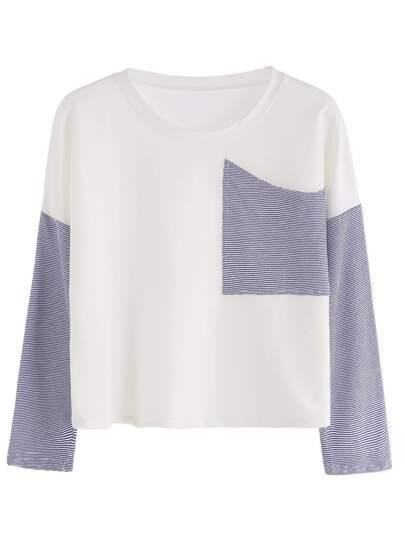 White Drop Shoulder Contrast Striped T-shirt