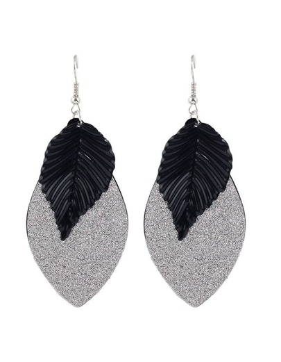 Black Plated Leaf Shape Earrings