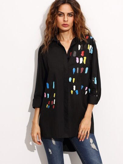 Black Print High Low Shirt