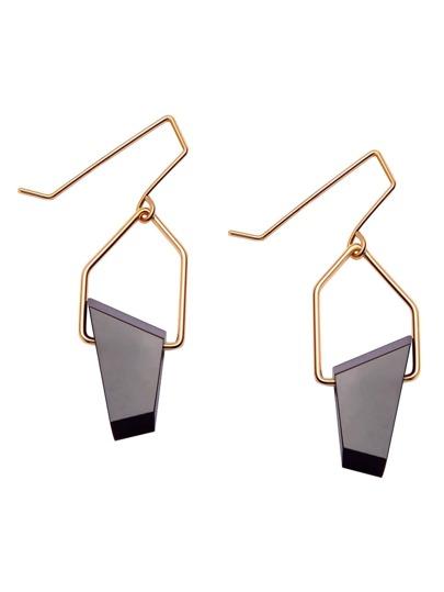 Gold Plated Black Geometric Stone Drop Earrings