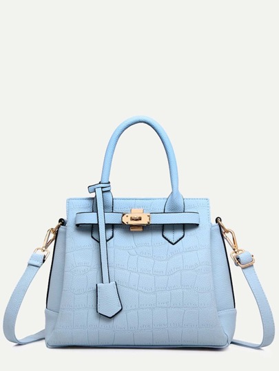 Blue Crocodile Embossed Tote Bag With Strap