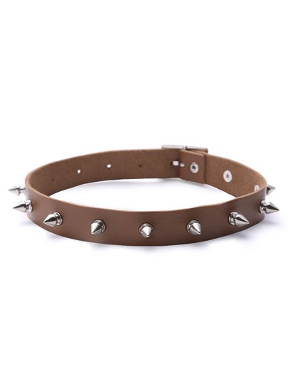 Camel Faux Leather Spike Choker