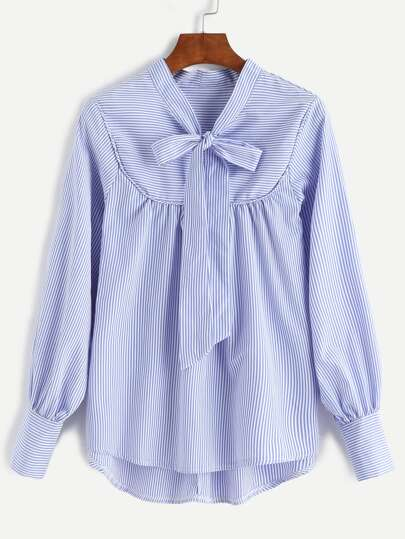Blue Striped Bow Tie Neck Dip Hem Blouse