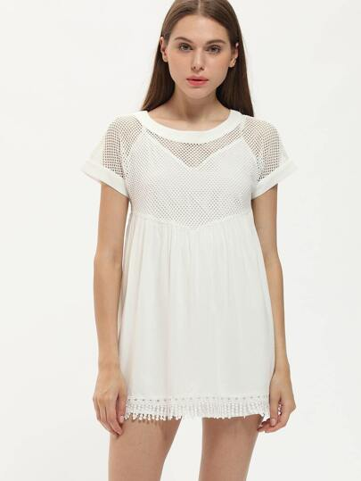 Beige Crew Neck Hollow Fringe Hem Dress