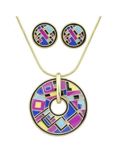 Purple Enamel Geometric Pattern Round Necklace Earrings Set